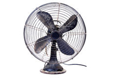 Old table fan. Against white background royalty free stock photography