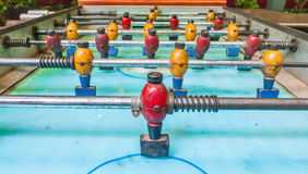Old table football or soccer. Royalty Free Stock Image