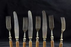 Old table knives and knives Royalty Free Stock Photos