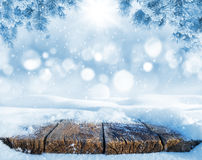 Old table in the snow Royalty Free Stock Image