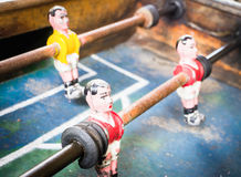 Old table soccer game. Nice close-up Royalty Free Stock Photography