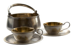 Old tableware isolated on white Royalty Free Stock Photography