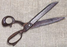 Old tailor shears on textile Stock Photography