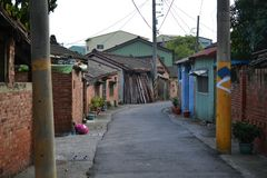 Old Taiwanese villages, cute shacks and houses, streets stock photography
