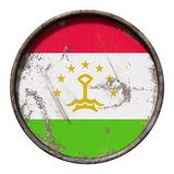 Old Tajikistan flag. 3d rendering of a Tajikistan flag over a rusty metallic plate. Isolated on white background Stock Photo