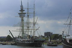 Old Tall Frigate in harbor of Bremerhaven, Germany Royalty Free Stock Photo