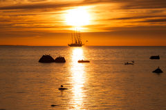 Old tall sail ship silhouette Stock Photography
