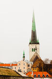 Old Tallinn and the Church of St. Olaf Royalty Free Stock Images