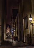 Old Tallinn, Estonia. Dark street at night Royalty Free Stock Photography