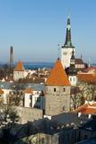 Old Tallinn Panorama. With Baltic sea on background, Estonia Stock Photo