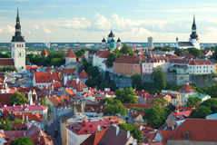 Old Tallinn panorama. From Oleviste church in summer Stock Photography