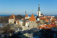 Old Tallinn panorama. With Baltic sea on background, Estonia Royalty Free Stock Images