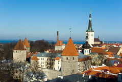 Old Tallinn panorama. With Baltic sea on background Royalty Free Stock Photos