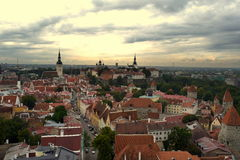 Old Tallinn. View of the old city from above., Magic Tallinn stock photography