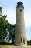 Old Tan Brick Lighthouse Royalty Free Stock Photography