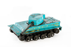 The old tank. A green old tank toy Royalty Free Stock Photo