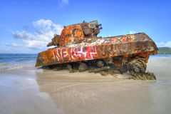 Old tank at Flamenco Beach Stock Photo