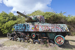 Old tank Flamenco Beach Stock Photos