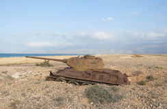 Old tank at sea cost of Socotra island Royalty Free Stock Photos