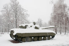 Old  tank in the snow Stock Image