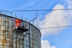 Old oil storage tank Royalty Free Stock Images