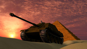 Old Tank at Sunset in Desert with Pyramid background Royalty Free Stock Photos