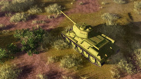 Old tank T 34 on battlefield top view. Top view of old soviet tank T 34, primary battle tank of russian army in World War II at battlefield. 3D illustration from Royalty Free Stock Photo