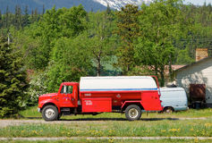 An old tank truck in alaska Stock Image