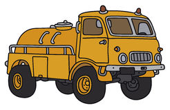 Old tank truck. Hand drawing of an old orange small terrain tank truck - not a real model Stock Images