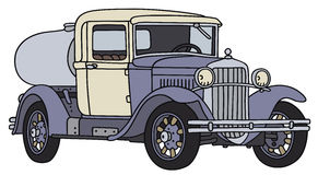 Old tank truck. Hand drawing of a vintage dairy tank truck - not a real type Stock Photo