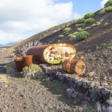 Old tank in volcanic landscape Stock Photography