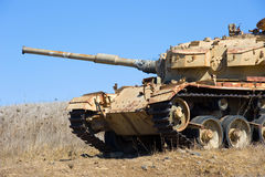 Old tank of war. Old centurion tank of the yom kippur war close to the syrian border on the Golan Heights in Israel Royalty Free Stock Photo