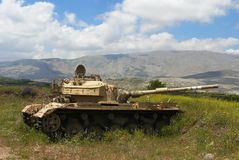 Tank on a peaceful flowering slope royalty free stock photos