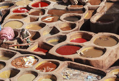 Old tannery in the medina of fez Stock Images