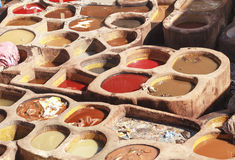 Old tannery in the medina of fez Stock Photos