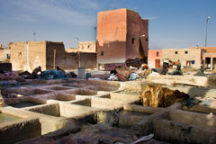 Old tannery in Moroccan Medina Stock Photography
