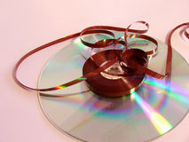 Old Tape New Cd. Evolution of data storage Royalty Free Stock Image