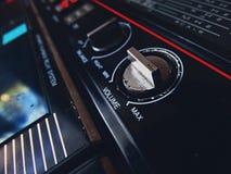 Old tape recorder. Play cassette audio vintage retro volume sound 80s 70s Stock Photos
