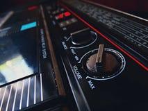 Old tape recorder. Play cassette audio vintage retro volume sound 80s 70s Royalty Free Stock Photo