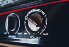 Old tape recorder. Play cassette audio vintage retro volume sound 80s 70s Stock Image