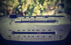 Old tape recorder, radio, radio wave, outdoor music stock images