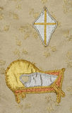 Old tapestry embroidered creche star nativity Stock Photos