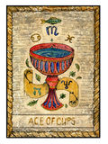 Old tarot cards. Full deck. Ace of Cups. Ace of cups. Full colorful deck, minor arcana. The old tarot card, vintage hand drawn engraved illustration with mystic royalty free illustration