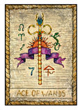 Old tarot cards. Full deck. Ace of Wands. Ace of wands. Full colorful deck, minor arcana The old tarot card, vintage hand drawn engraved illustration with mystic Stock Image