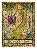 Old tarot cards. Full deck. The Hanged Man. The hanged man. Full colorful deck, major arcana. The old tarot card, vintage hand drawn engraved illustration with Royalty Free Stock Photo