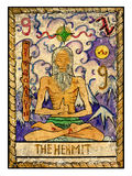 Old tarot cards. Full deck. The Hermit. The hermit. Full colorful deck, major arcana. The old tarot card, vintage hand drawn engraved illustration with mystic royalty free illustration