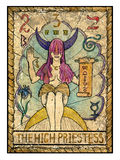 Old tarot cards. Full deck. The High Priestess. The high priestess.  Full colorful deck, major arcana. The old tarot card, vintage hand drawn engraved Stock Photography