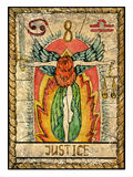 Old tarot cards. Full deck. Justice. Justice.  Full colorful deck, major arcana. The old tarot card, vintage hand drawn engraved illustration with mystic symbols Royalty Free Stock Image