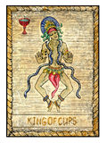 Old tarot cards. Full deck. King of Cups. King of cups. Full colorful deck, minor arcana. The old tarot card, vintage hand drawn engraved illustration with Stock Photos