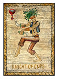 Old tarot cards. Full deck. Knight of Cups. Knight of cups. Full colorful deck, minor arcana. The old tarot card, vintage hand drawn engraved illustration with Royalty Free Stock Photography